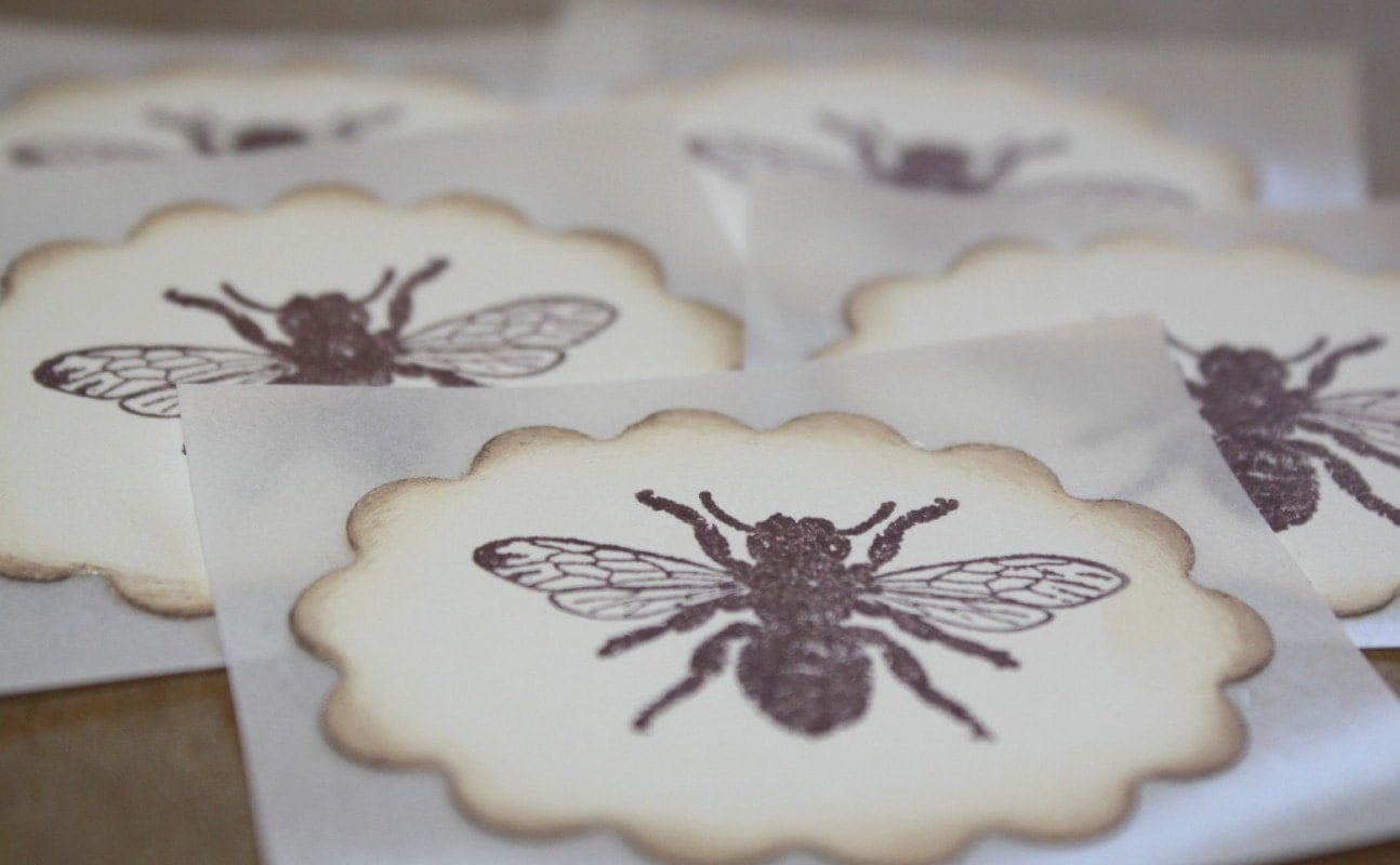 BEES.......Handmade Envelope Seal....Stickers.....Summer Collection