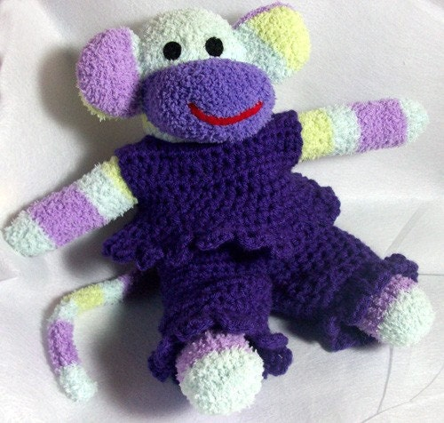 Crochet shirt and pants set  for your Sock monkey  made to order