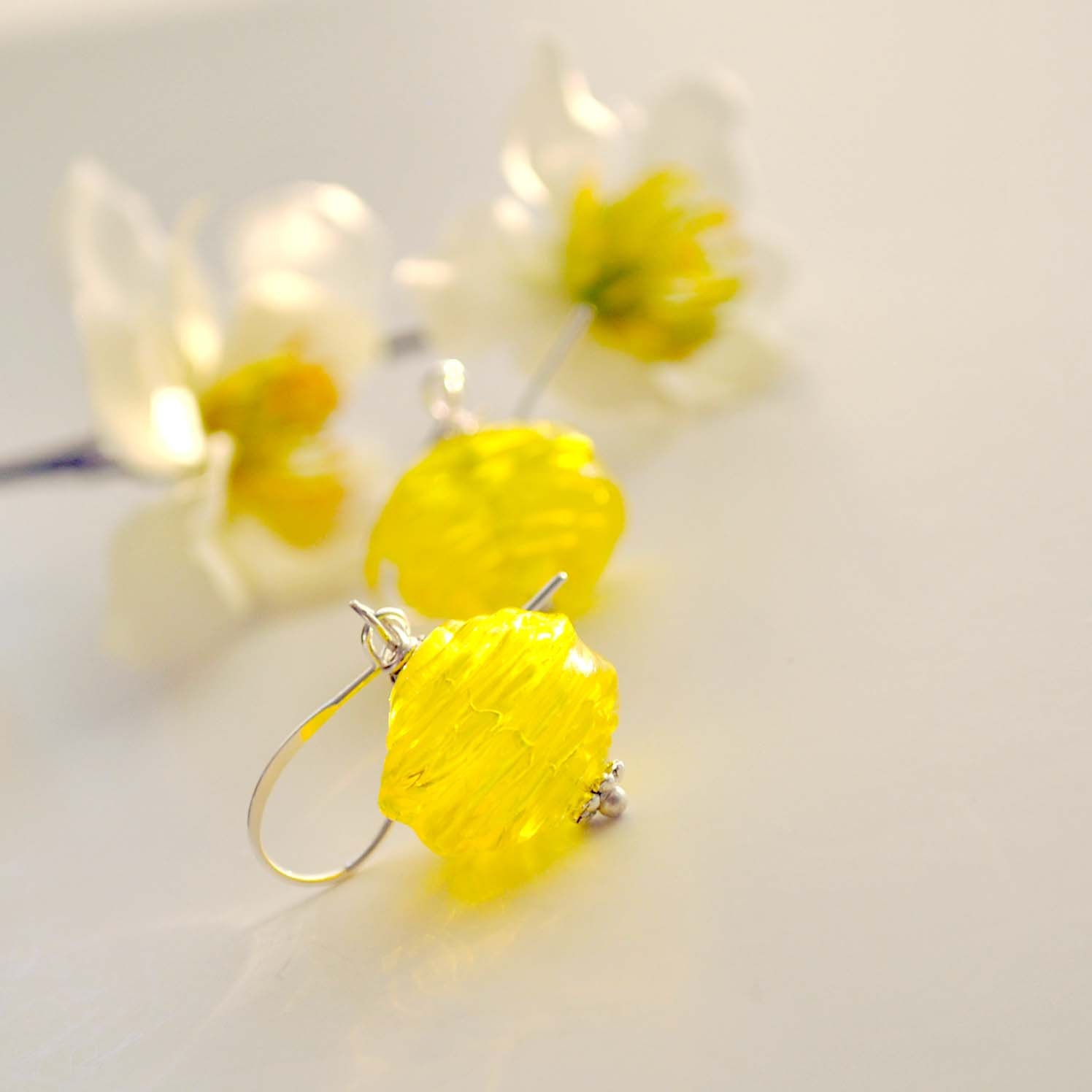 Yellow Lemonade Ribbed Earrings, Hollow Blown Glass,