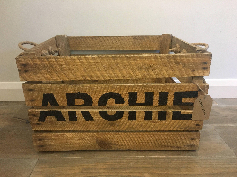 Wooden Apple Crate Personalised Toy Box  Storage Box  Jute Rope Handles