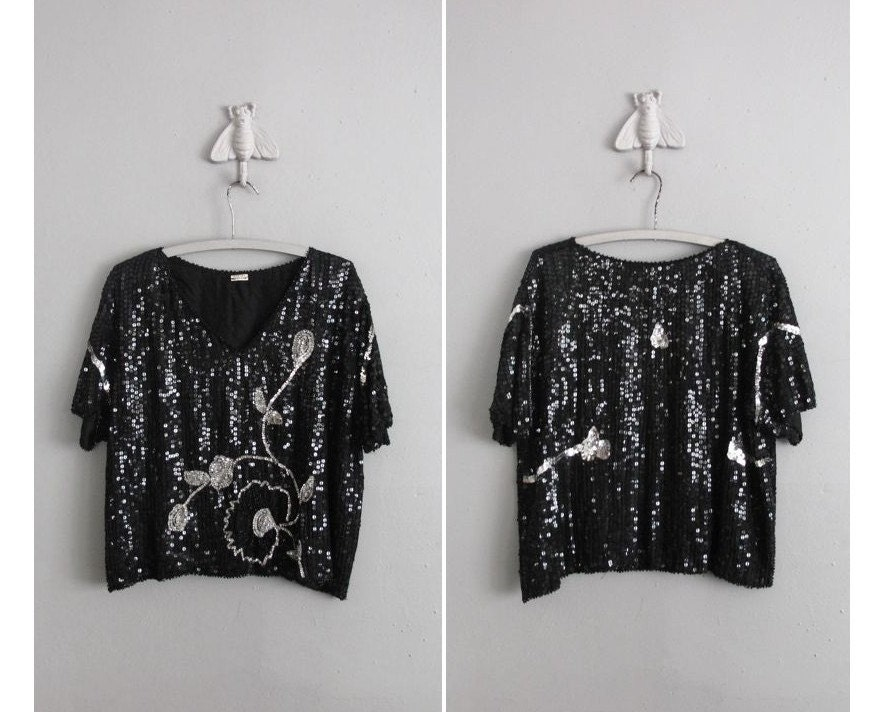 vintage black and silver sparkle sequin cocktail blouse