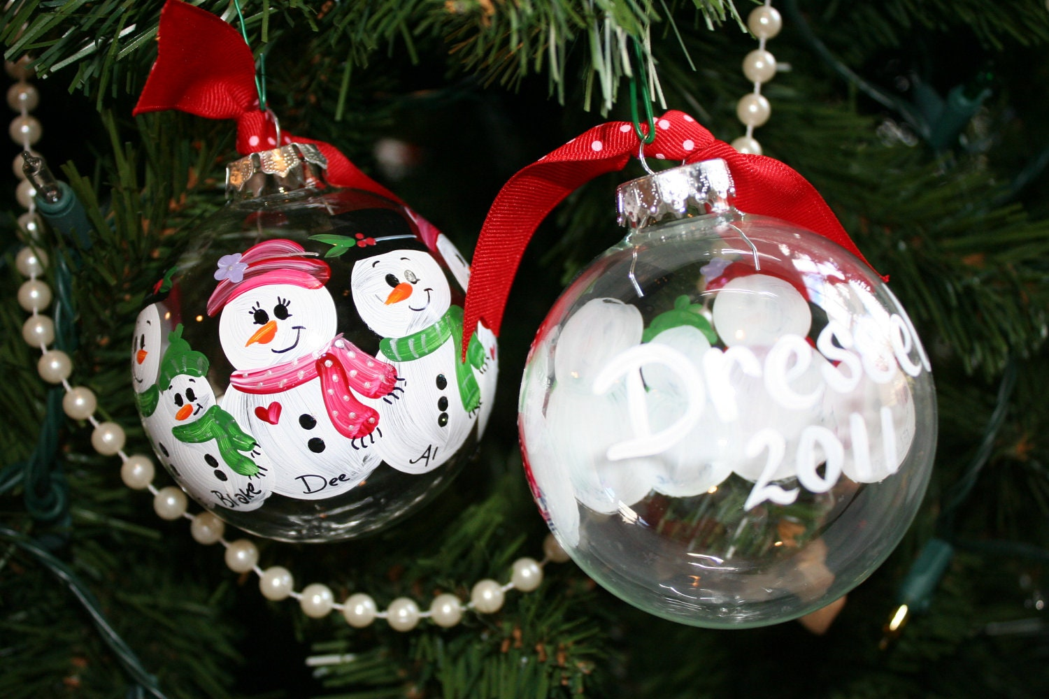 personalized hand painted snowman christmas ornament family