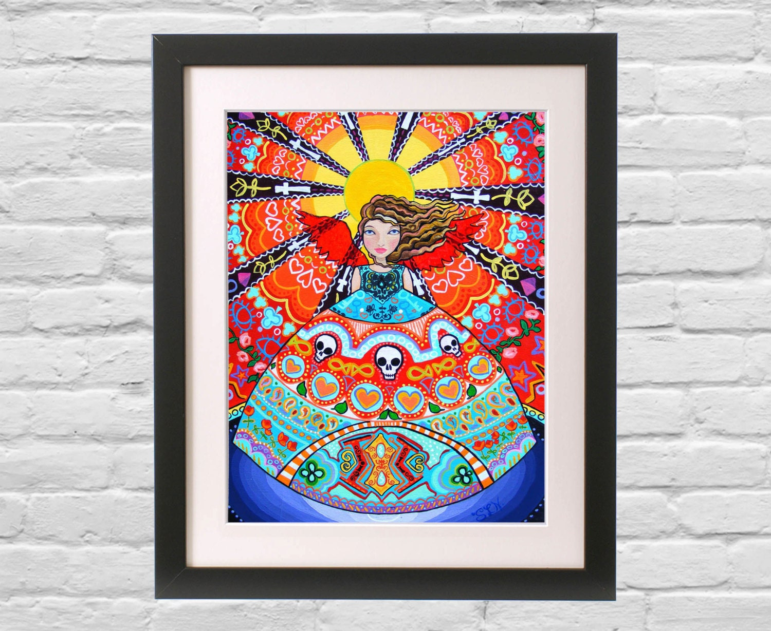 Funky wall decor angel art print red turquoise by for Funky wall art