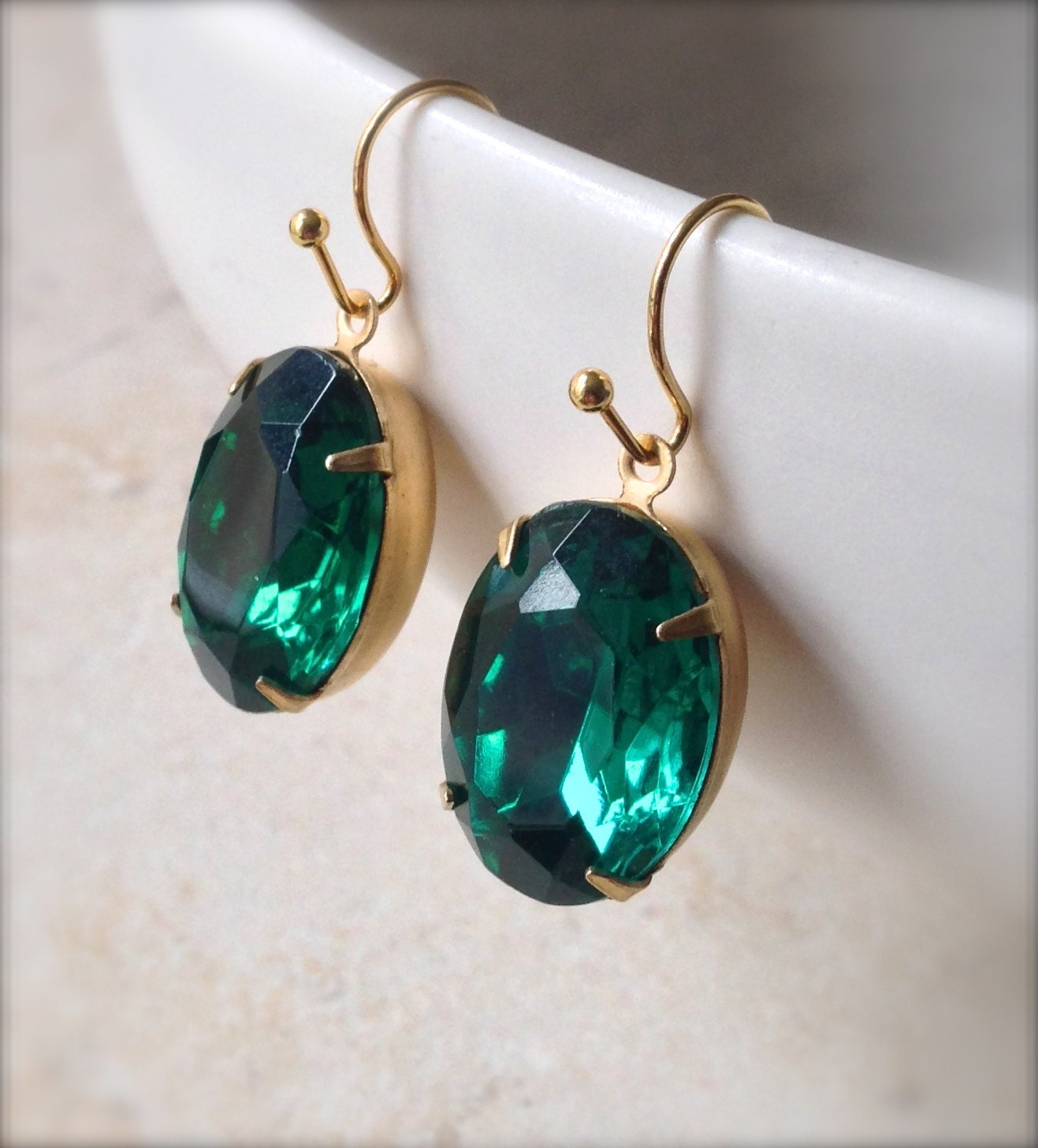 Emerald Green Rhinestone Earrings Gold Filled Oval Vintage Style 18 x 13mm Gifts Under 20 for Her - GoldSunDesigns