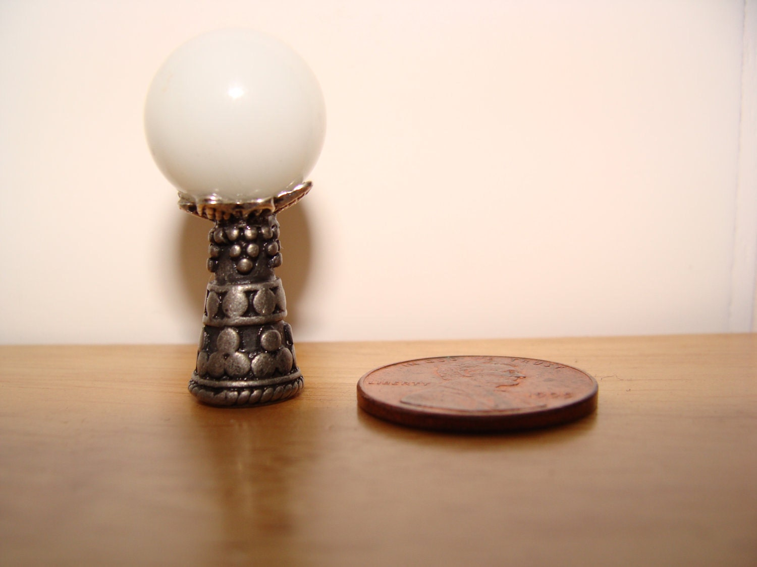 White gazing crystal ball dollhouse miniature 1:12 scale