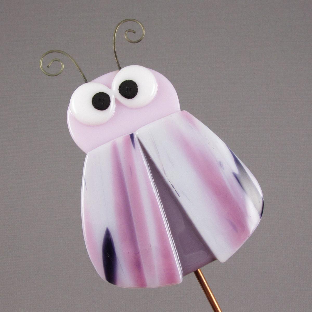 Bug Garden Stake - Crazy Fused Glass Bug - Pink, Purple & White - AngelasGlassStudio