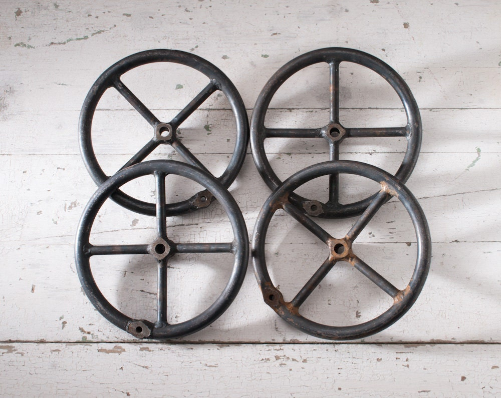 Vintage Black Metal Industrial Wheels - Steel Machine Tool Wheel Handles - fallaloft