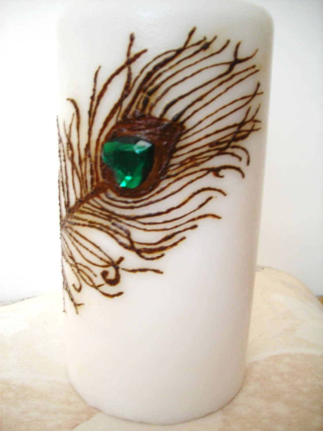 Mehndi Peacock Feather : Henna candle peacock feather for you design by mehndiart