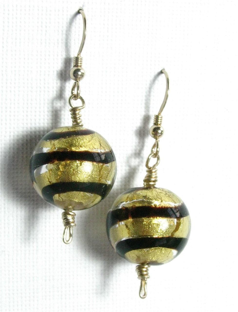 Gorgeous black and gold foil Venetian Glass ball by SeasideStudio
