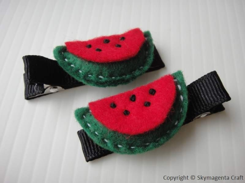 Felt Alligator Hair Clip - WATERMELON