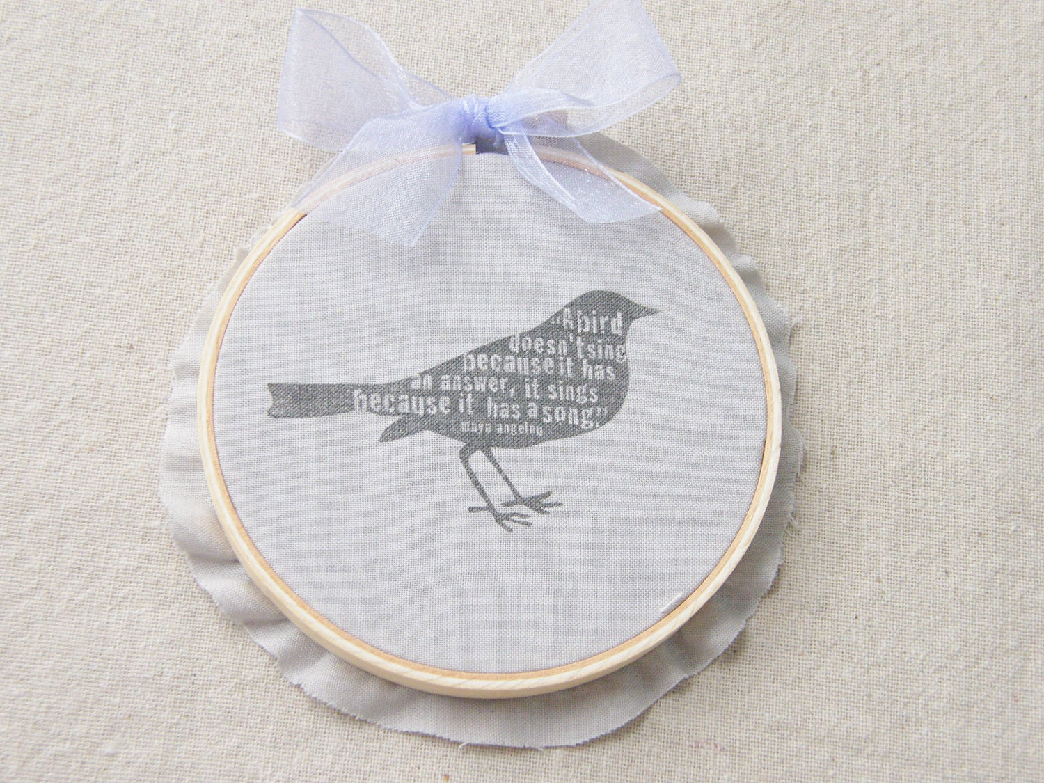 Hoop Art, Bird Quote, Farmhouse Decor, Grey