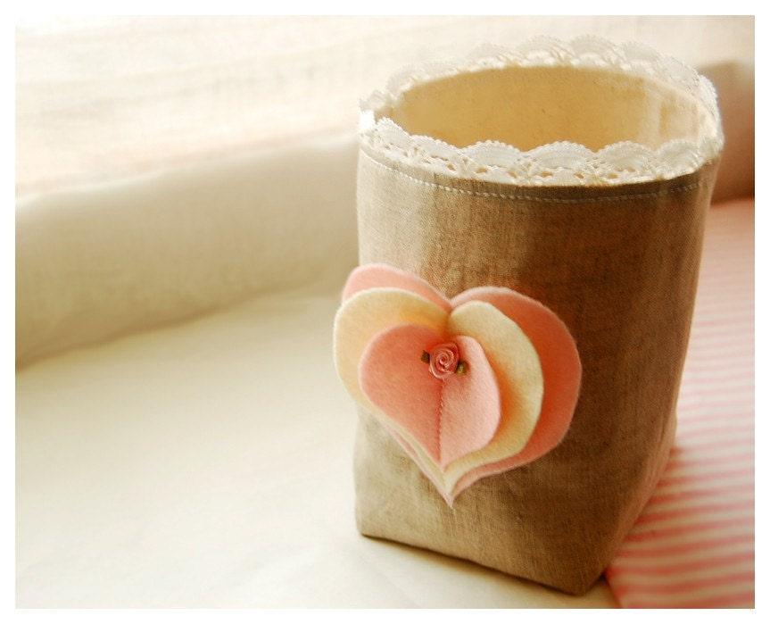 Hearts A Flutter 3D Hearts Box Natural Linen Fabric Bin Organizer Storage Basket Felt Recycled Handmade