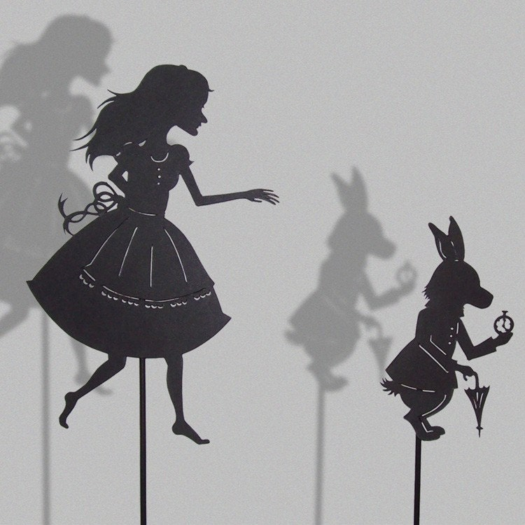 Alice and the white Rabbit/ 2 HAND-CUT SHADOW PUPPETS