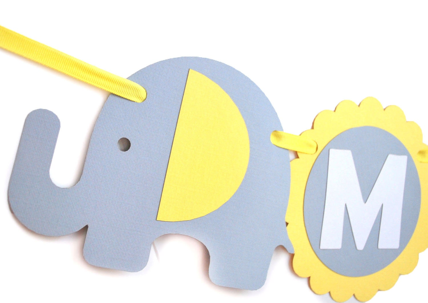 Baby Shower Banner name, Elephant baby shower in baby Yellow Grey and White, Welcome Baby party banner MariaPalito A460
