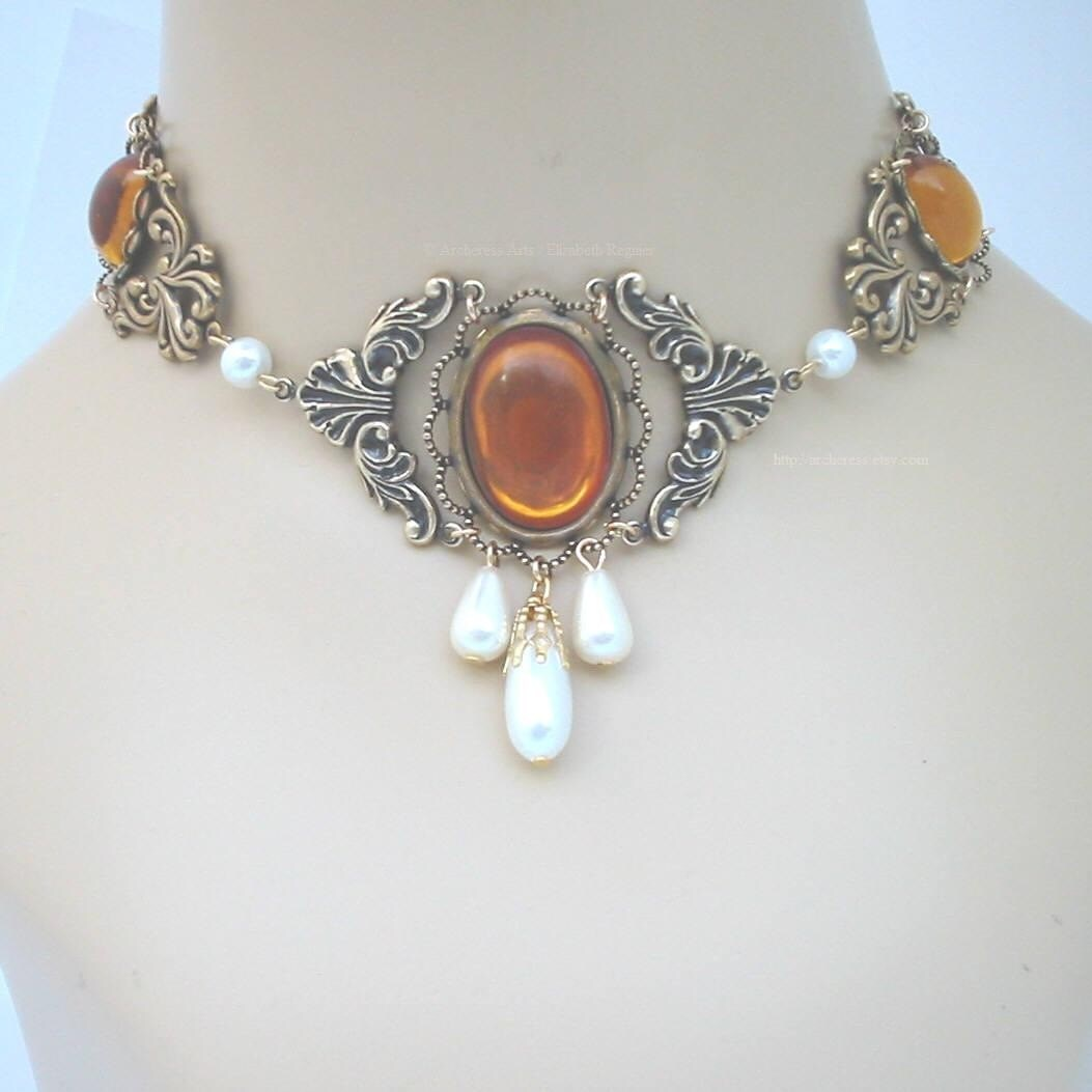 Topaz yellow SCA Renaissance Tudors Wedding Choker Necklace 4 Gown - Jessica II