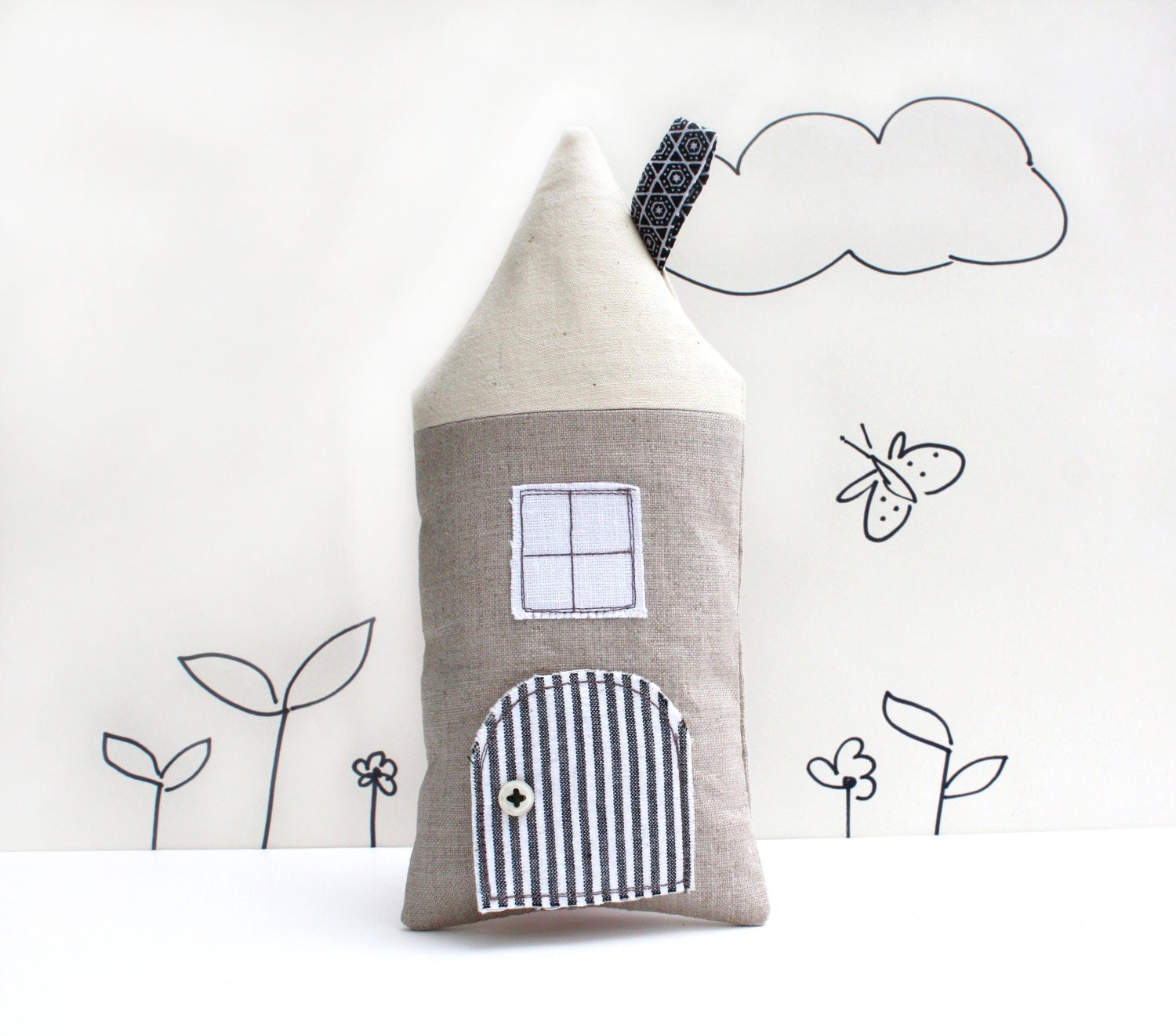 Tooth Fairy Pillow, Cottage, Neutral,Boys, Girls, Children, Toy, Open The Door, Stuffed Toy, Keepsake - AppleWhite