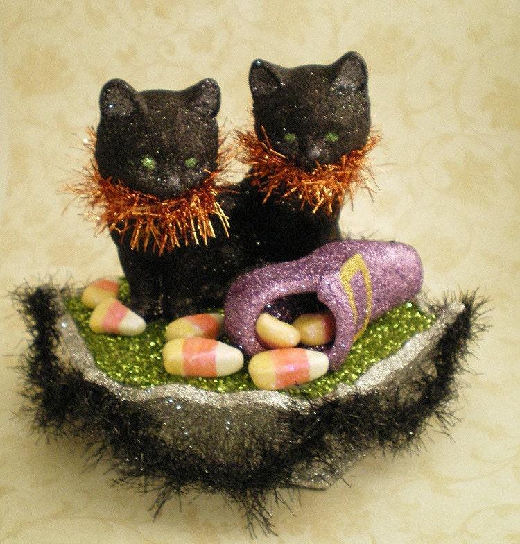 Double Trouble - OOAK Black Cat Halloween Decoration