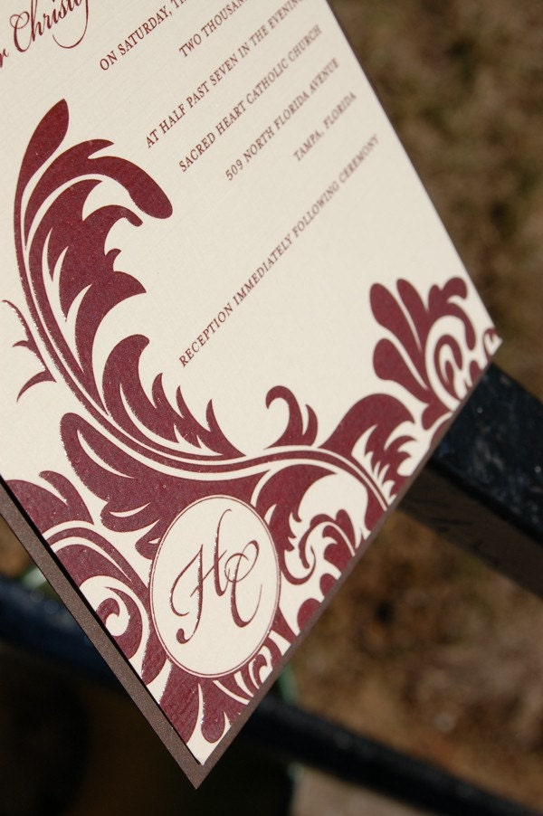 Ivory, Cranberry and Chocolate Brown Damask Thermography Wedding Invitation Set SAMPLE