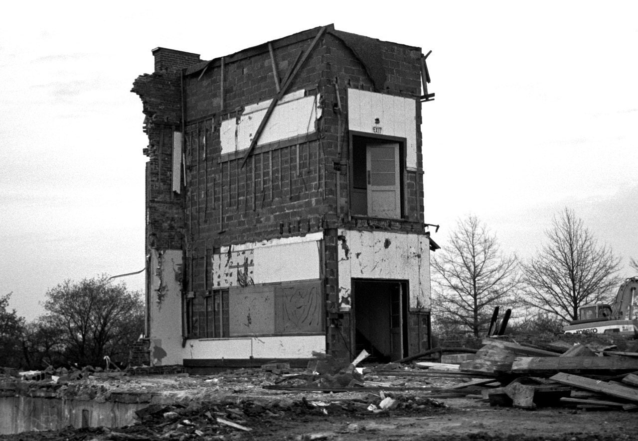 ELEMENTARY SCHOOL DEMOLITION BLACK AND WHITE PHOTOGRAPH 8 X 12 MATTED PRINT 11 X 14 FRAME