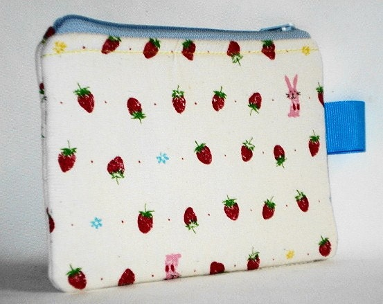 Bunny Hearts Strawberries Pouch -- White by WolfBait on Etsy