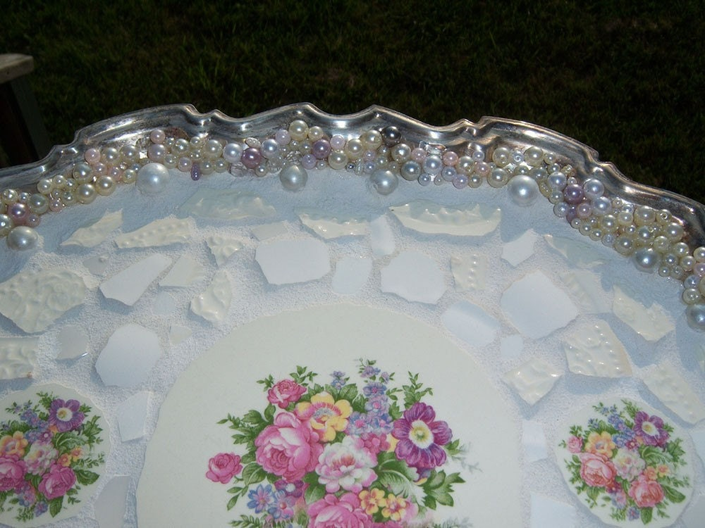 Large silver plated serving tray - vanity tray with feet - 3 mosaic floral china focals and white and beige china - handcut china - accent of pearls beads