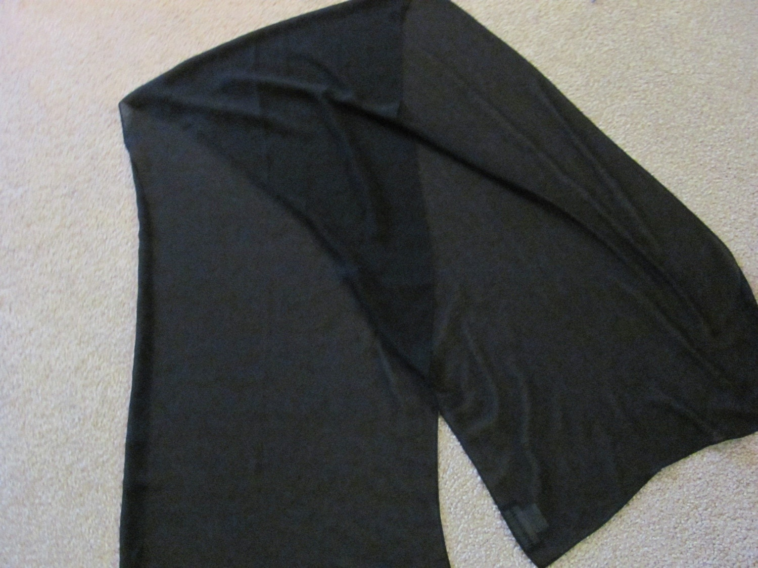Elegant Black Sheer Large Scarf Shawl or Wrap - 19 x 72 Long