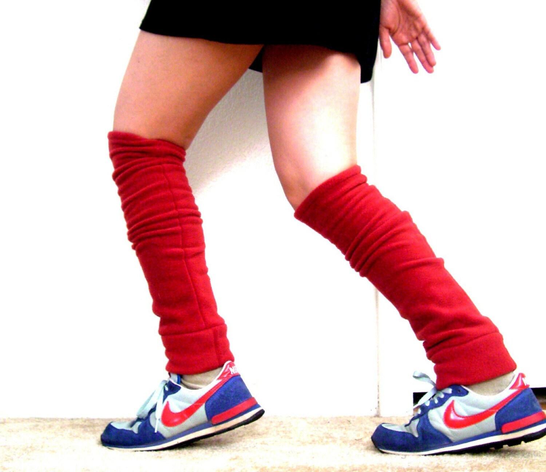 Red Fleece Leg Warmers