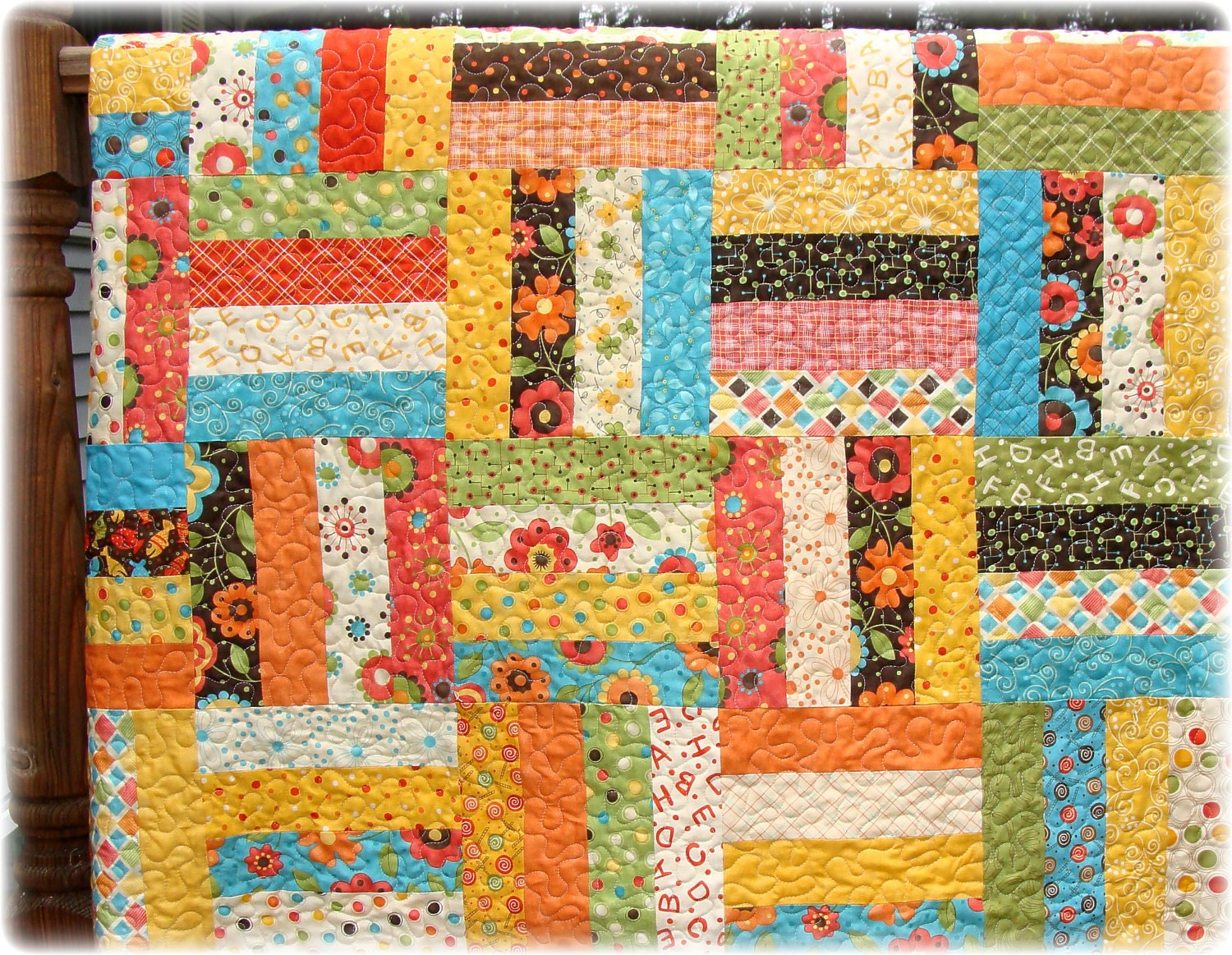 Scrappy Rail Fence Baby Quilt