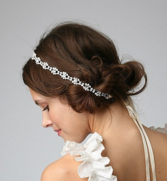 SANDRA - Bridal Crystal Rhinestone Headband or Halo