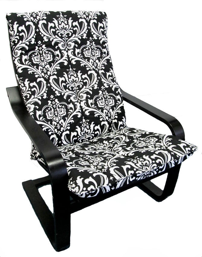 Godmorgon Ikea Installation ~   to Slipcover for IKEA Poang Chair in Black & White Damask on Etsy