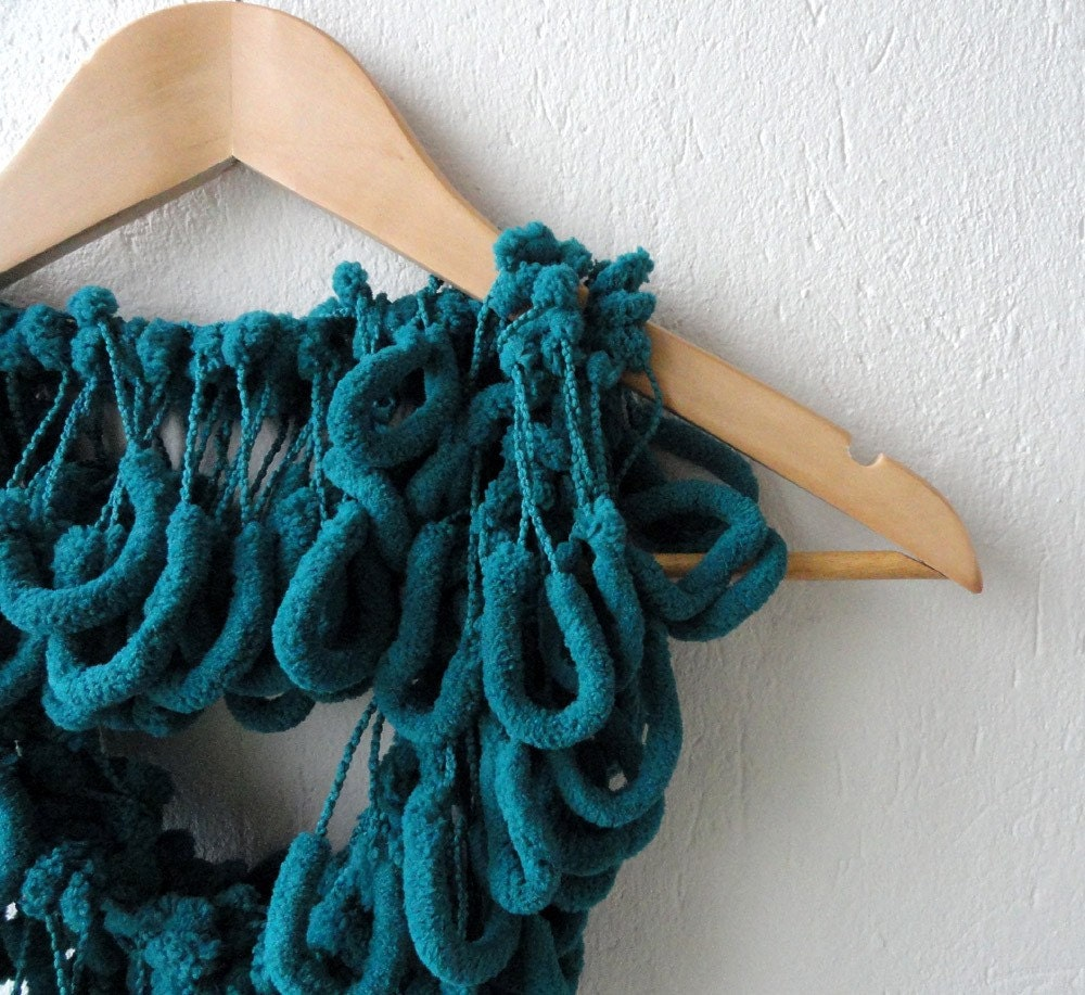 Just Teal - Cozy Soft Curly Mulberry Long Scarf for cold winter days