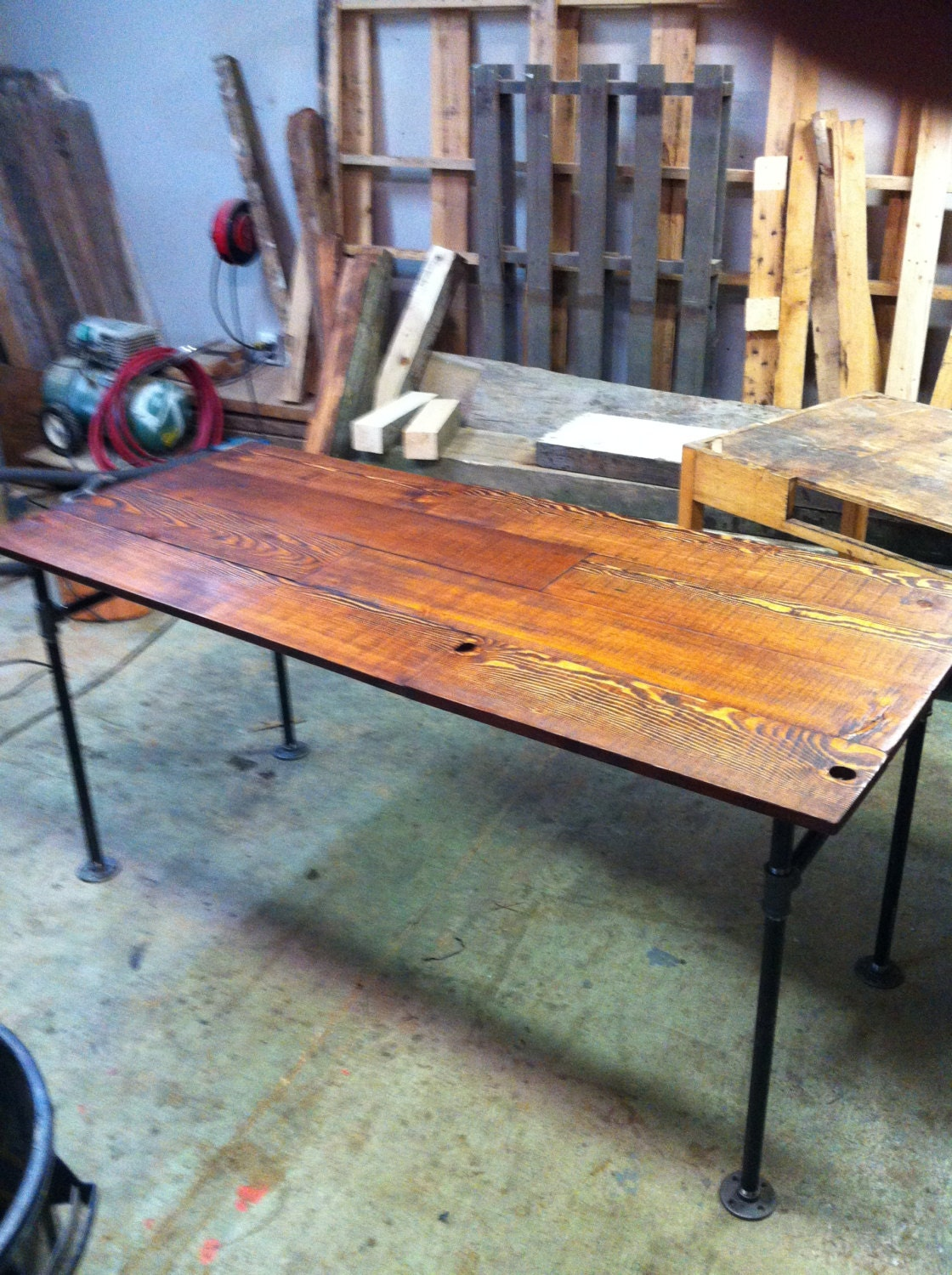 Barn wood fir and cast iron pipe desk by jsreclaimedwood for Iron pipe desk