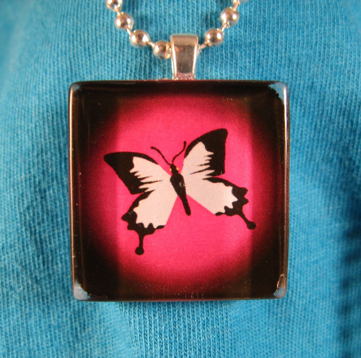 Pink butterfly glass pendant necklace graphic art