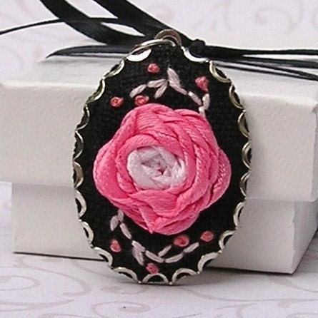 Pendant - Ribbon Embroidered Pink Rose