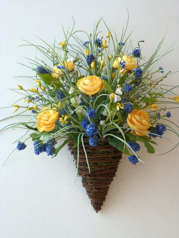 Vine Cone Wall Basket Blue Yellow White By