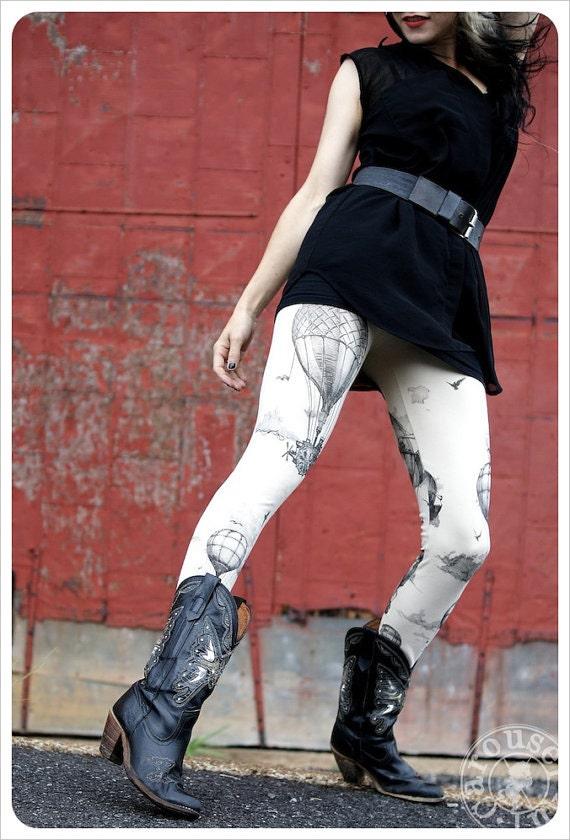 Hot Air Balloon Leggings - Womens Legging - IVORY - Tights - OZ - SMALL