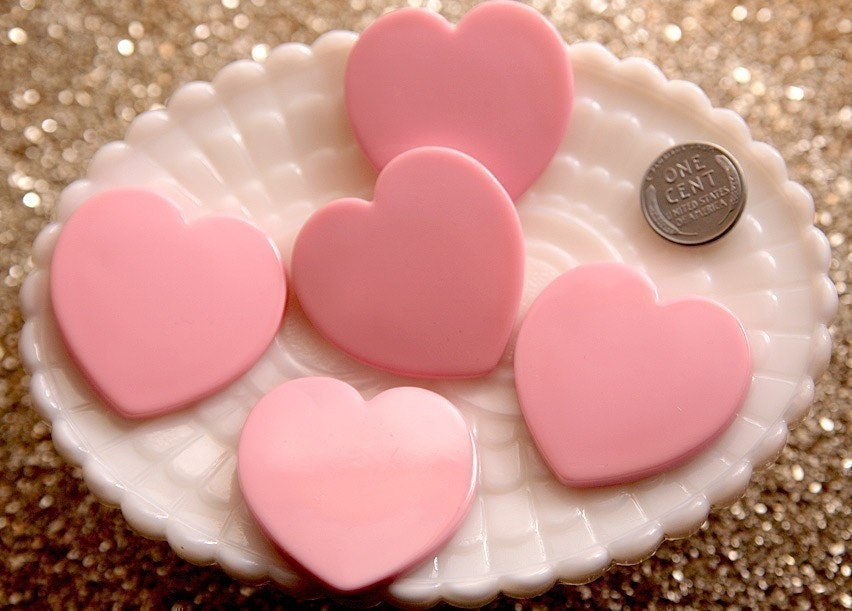 40mm Pink Heart Resin Cabochons - 5 pc set