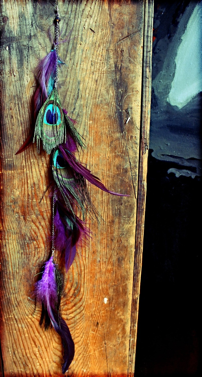 Extra Long Single Feather Chain Earring OR Feather Hair Clip, Extension-18 inches long-Feather Symbolism - Cloud9Jewels