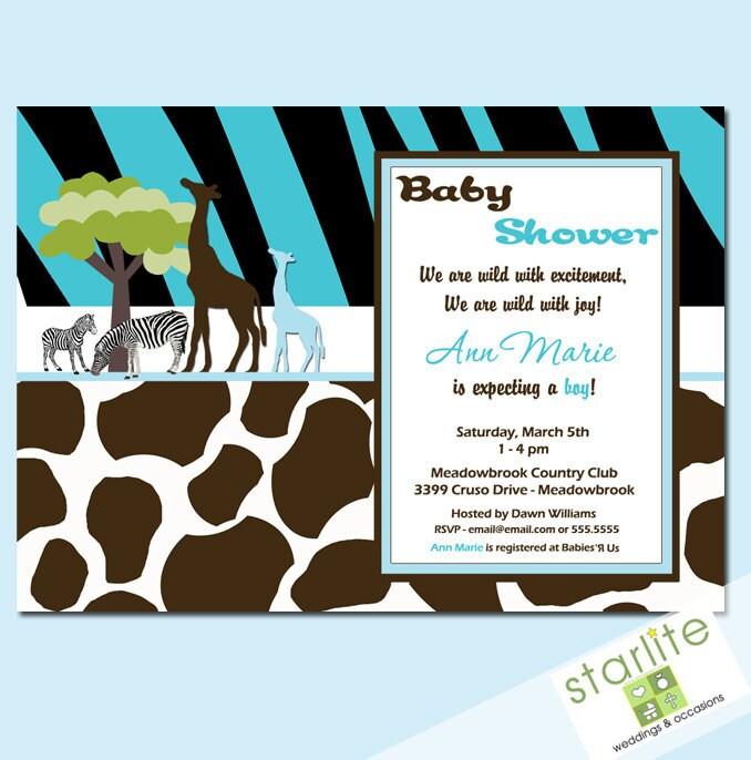 baby shower invitations wild safari blue baby shower by starwedd
