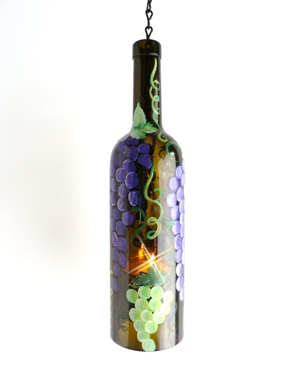 Tuscan Purple Green Grapes Wine Bottle Candle Holder By