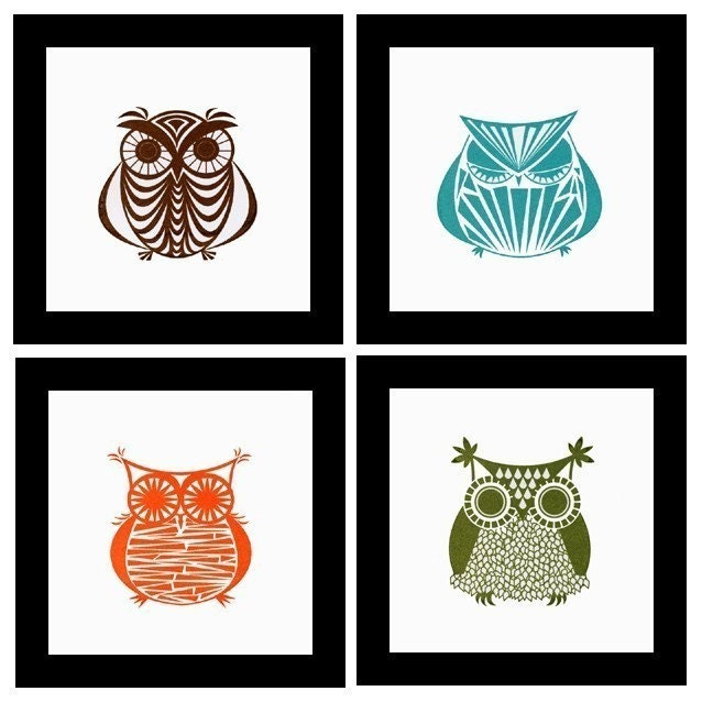 FREE MATCHING Coaster Set with Purchase  -  Owl Gocco Print Set No. 3  -  Four NEW Owls handprinted by Kerry Beary