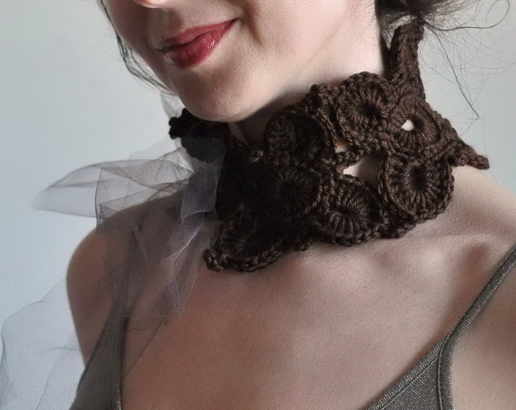 Midsummer Night's Dream - crocheted romantic choker / collar / scarflette in dark chocolate