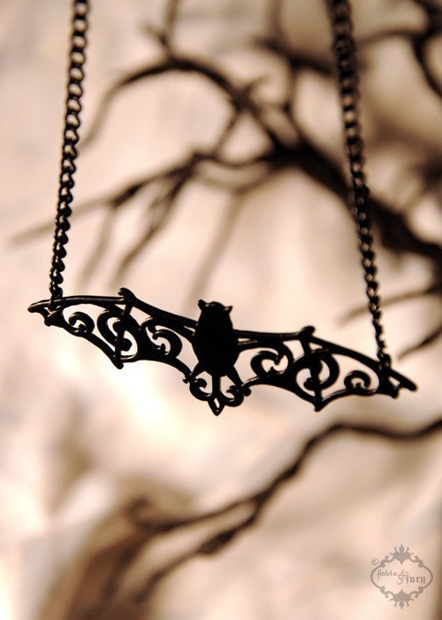 Filigree Victorian Bat necklace in black stainless steel - ornate flourish