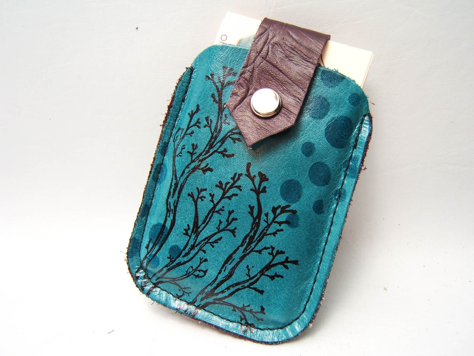 Twiggy LEATHER Card Case, Turquoise
