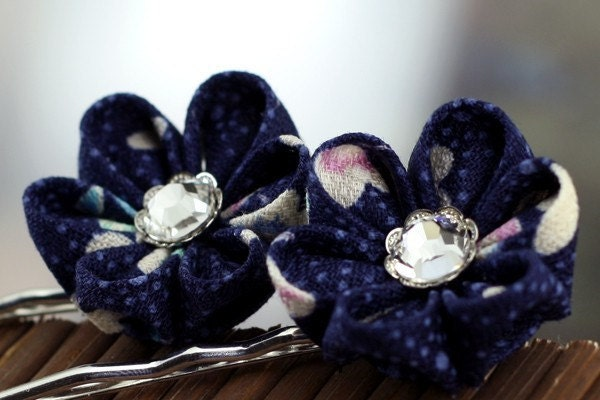Tiny Petals on Blue - Kanzashi Flower Bobby Pins