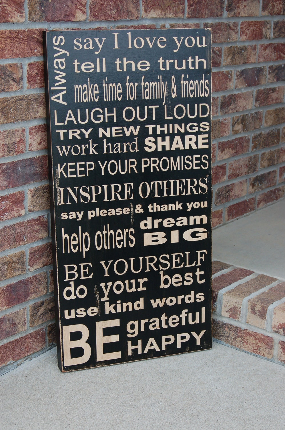 Family Rules Subway Art Wood Sign - Extra Large - 18x36