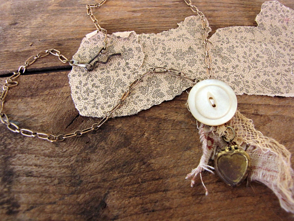 prosperity - shabby romantic necklace - antique button - vintage fabric scraps - eco friendly jewelry