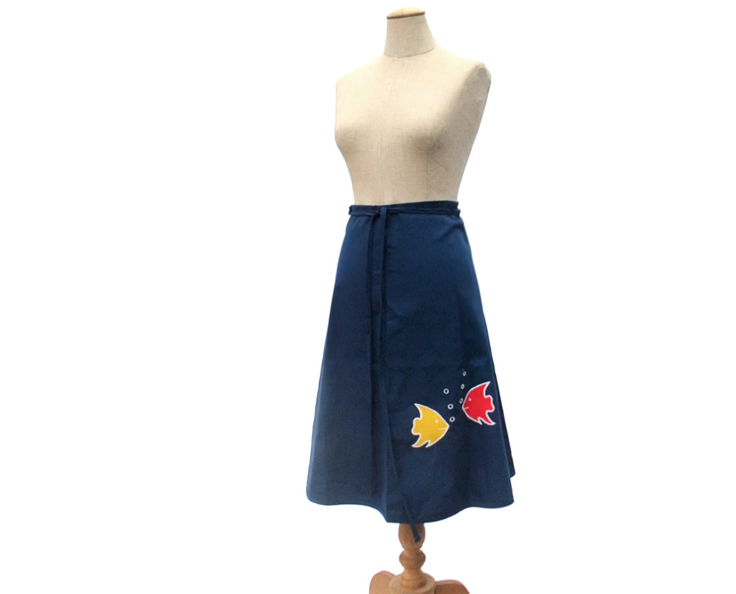 Vintage 1970s Wrap Skirt Fish Applique Navy by mysweetiepiepie from etsy.com