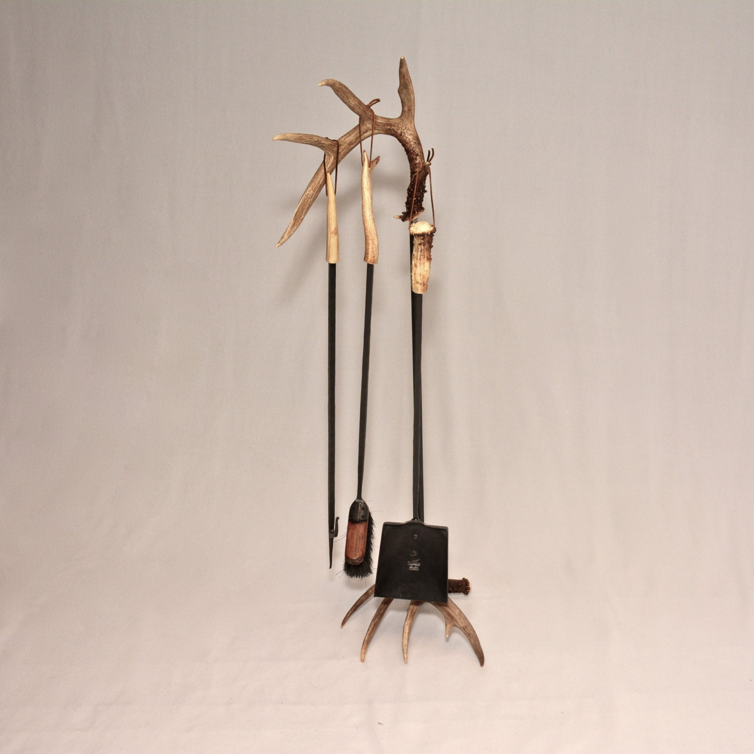 Items Similar To Antler Handled Wrought Iron Fireplace Tool Set On Etsy