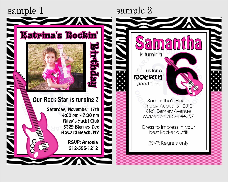 40th Birthday Ideas Free Rock Star Birthday Invitation Templates